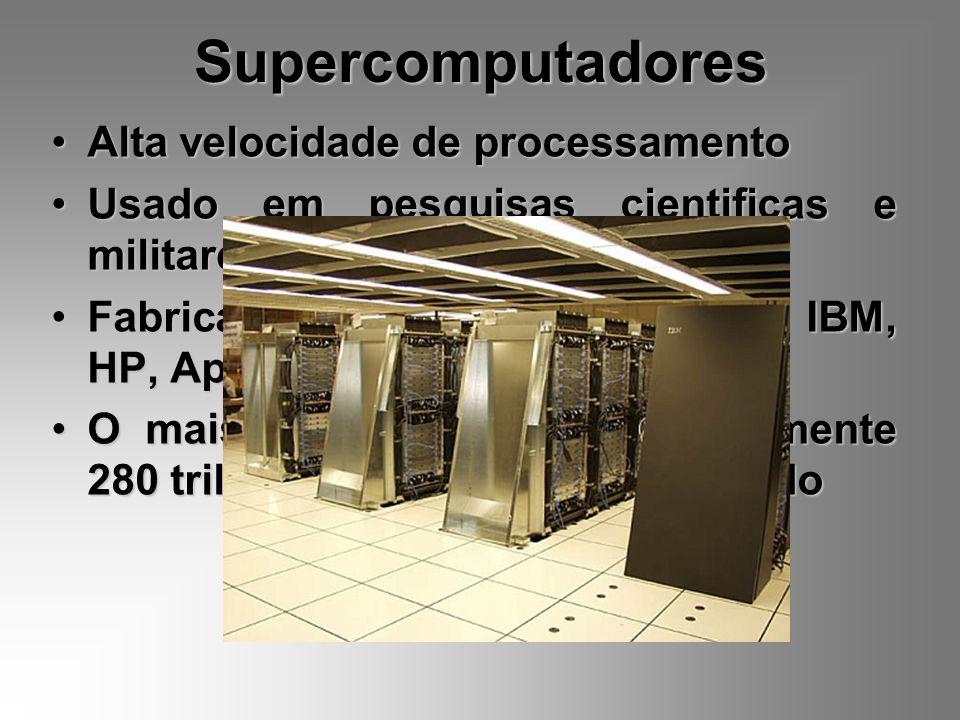 Supercomputadores Alta velocidade de processamento Usado em pesquisas cientificas e militares Fabricados por empresas como a IBM, HP, Apple, etc. O ma
