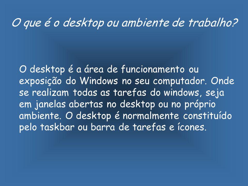 O que é o desktop ou ambiente de trabalho.