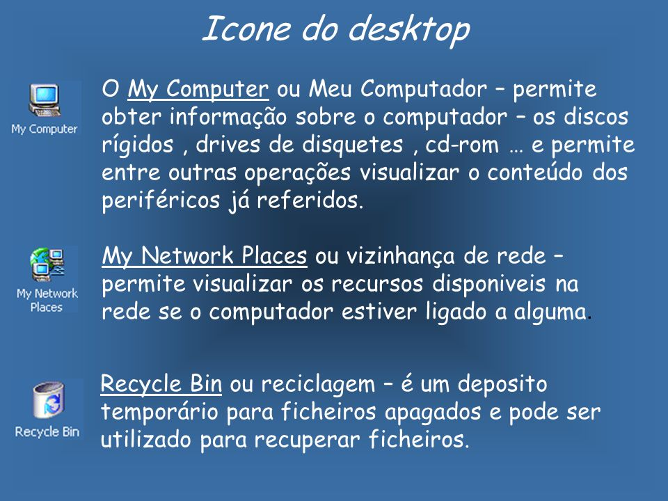 O My Computer ou Meu Computador – permite obter informação sobre o computador – os discos rígidos, drives de disquetes, cd-rom … e permite entre outras operações visualizar o conteúdo dos periféricos já referidos.