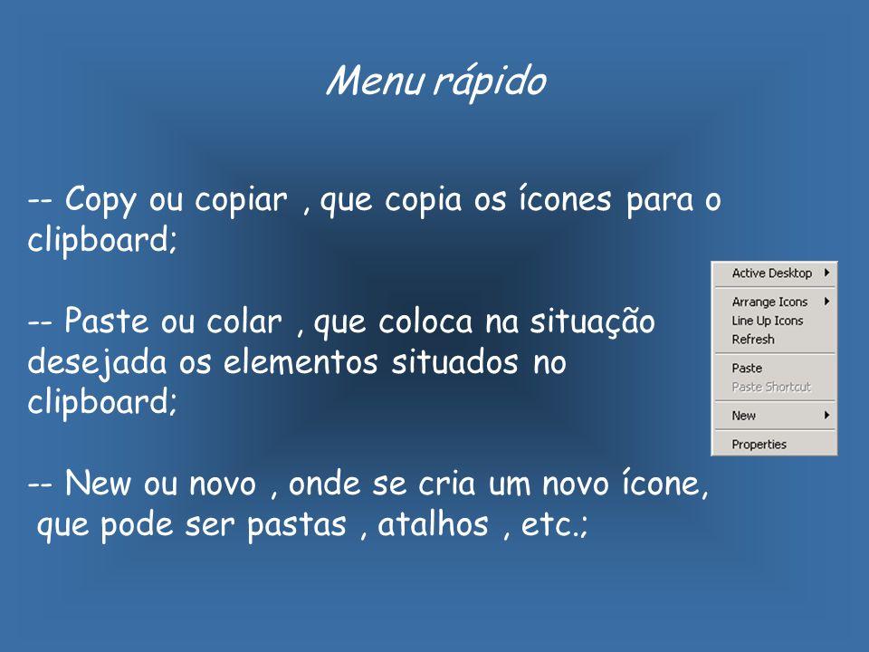 -- Copy ou copiar, que copia os ícones para o clipboard; -- Paste ou colar, que coloca na situação desejada os elementos situados no clipboard; -- New