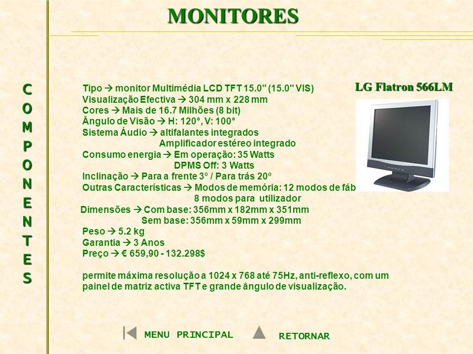MONITORES COMPONENTESCOMPONENTESCOMPONENTESCOMPONENTES MENU PRINCIPAL RETORNAR LG Flatron 566LM Tipo monitor Multimédia LCD TFT 15.0