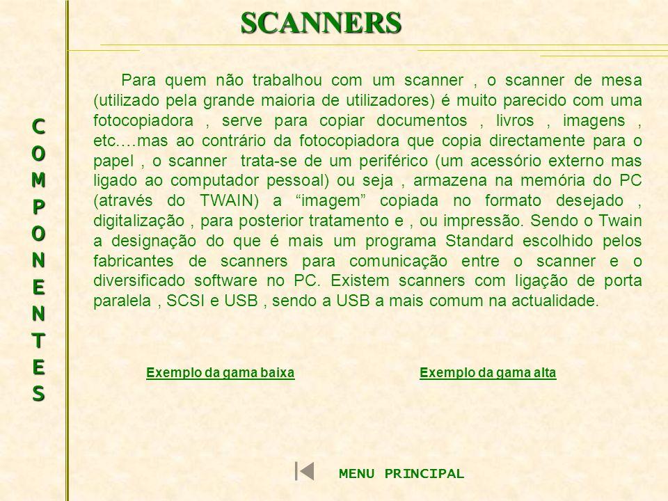 SCANNERS COMPONENTESCOMPONENTESCOMPONENTESCOMPONENTES Para quem não trabalhou com um scanner, o scanner de mesa (utilizado pela grande maioria de util