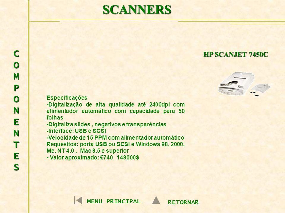 SCANNERS COMPONENTESCOMPONENTESCOMPONENTESCOMPONENTES Especificações -Digitalização de alta qualidade até 2400dpi com alimentador automático com capac