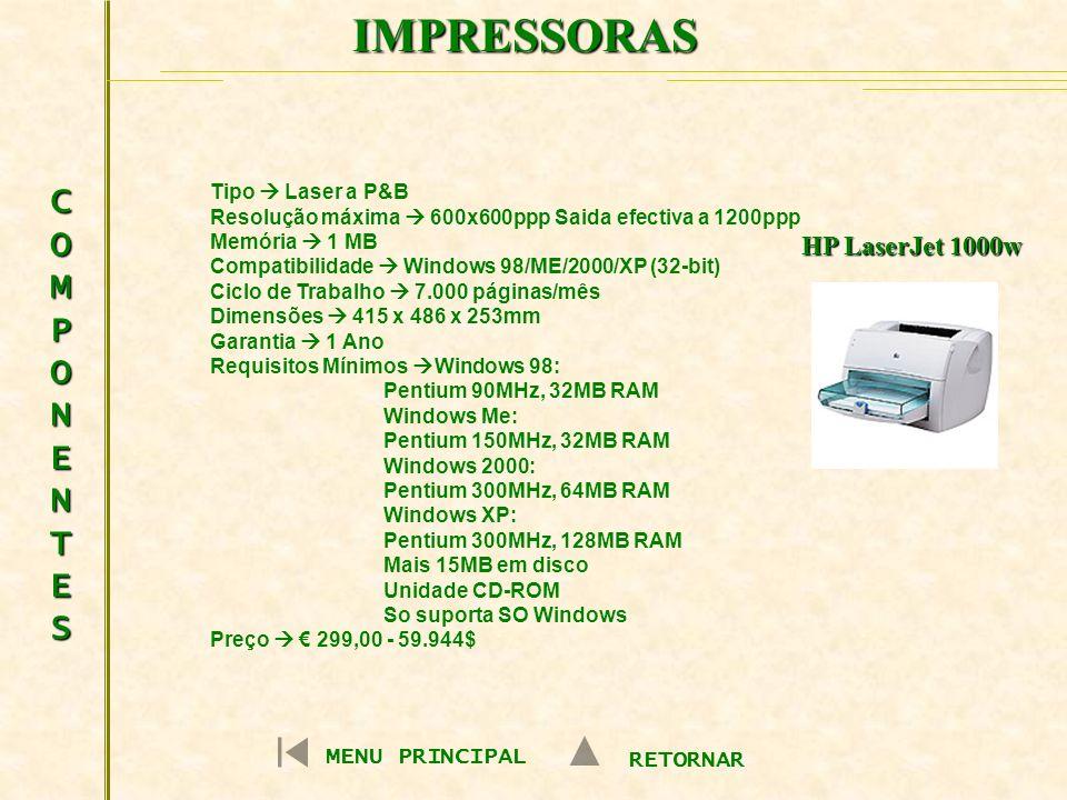 IMPRESSORAS COMPONENTESCOMPONENTESCOMPONENTESCOMPONENTES MENU PRINCIPAL RETORNAR HP LaserJet 1000w Tipo Laser a P&B Resolução máxima 600x600ppp Saida