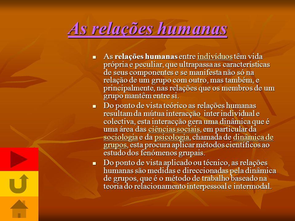 As relações humanas são dinâmicas………………………… As relações humanas são um tema básico, interessante e necessário.