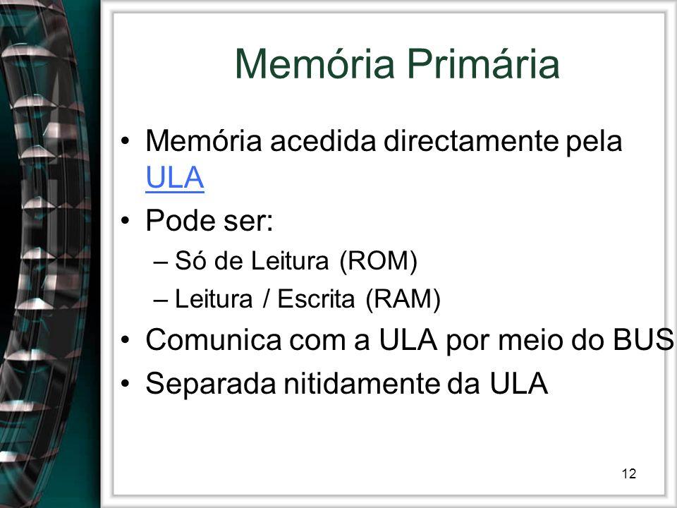 12 Memória Primária Memória acedida directamente pela ULA ULA Pode ser: –Só de Leitura (ROM) –Leitura / Escrita (RAM) Comunica com a ULA por meio do B