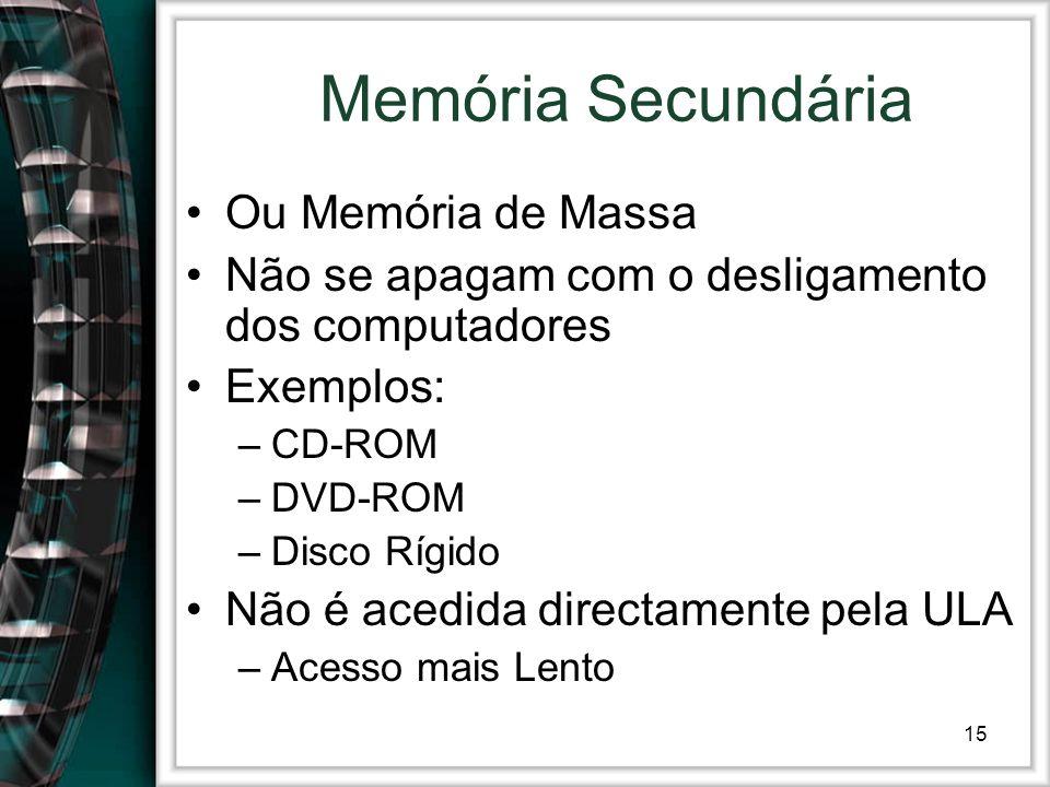 15 Memória Secundária Ou Memória de Massa Não se apagam com o desligamento dos computadores Exemplos: –CD-ROM –DVD-ROM –Disco Rígido Não é acedida dir