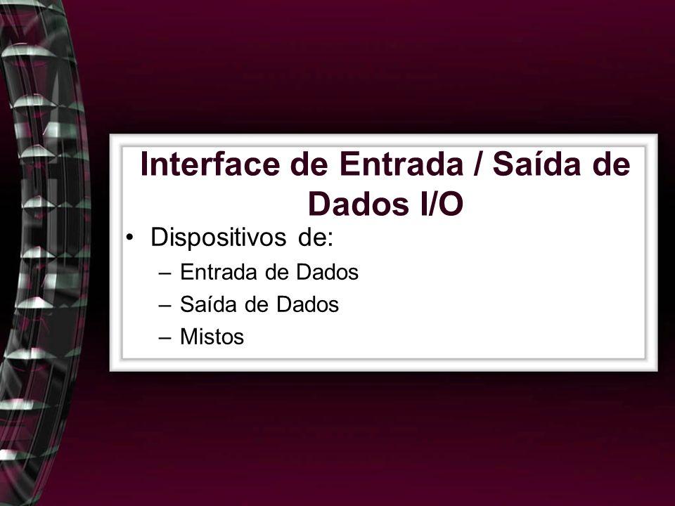 Interface de Entrada / Saída de Dados I/O Dispositivos de: –Entrada de Dados –Saída de Dados –Mistos