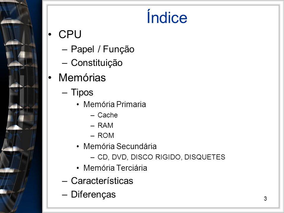 3 Índice CPU –Papel / Função –Constituição Memórias –Tipos Memória Primaria –Cache –RAM –ROM Memória Secundária –CD, DVD, DISCO RIGIDO, DISQUETES Memó