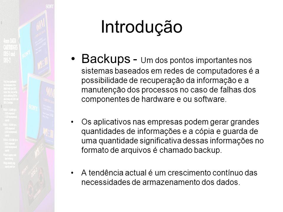 Introdução Backups - Um dos pontos importantes nos sistemas baseados em redes de computadores é a possibilidade de recuperação da informação e a manut