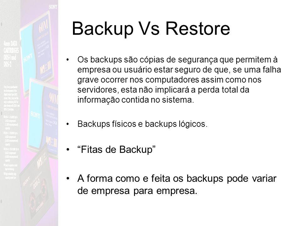 Backup Vs Restore Os backups são cópias de segurança que permitem à empresa ou usuário estar seguro de que, se uma falha grave ocorrer nos computadore