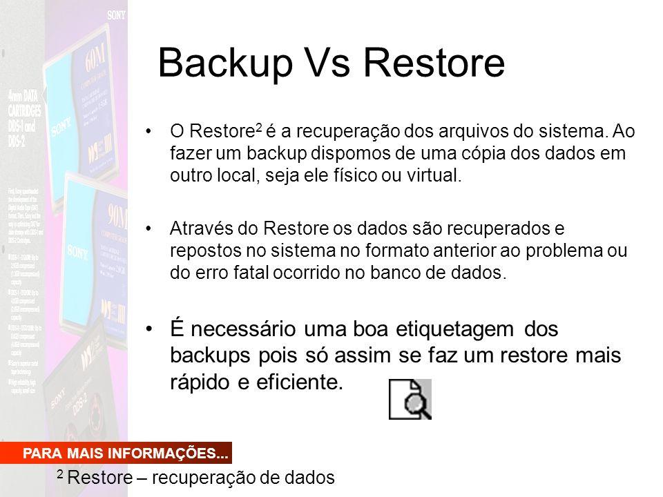 Backup Vs Restore O Restore 2 é a recuperação dos arquivos do sistema. Ao fazer um backup dispomos de uma cópia dos dados em outro local, seja ele fís