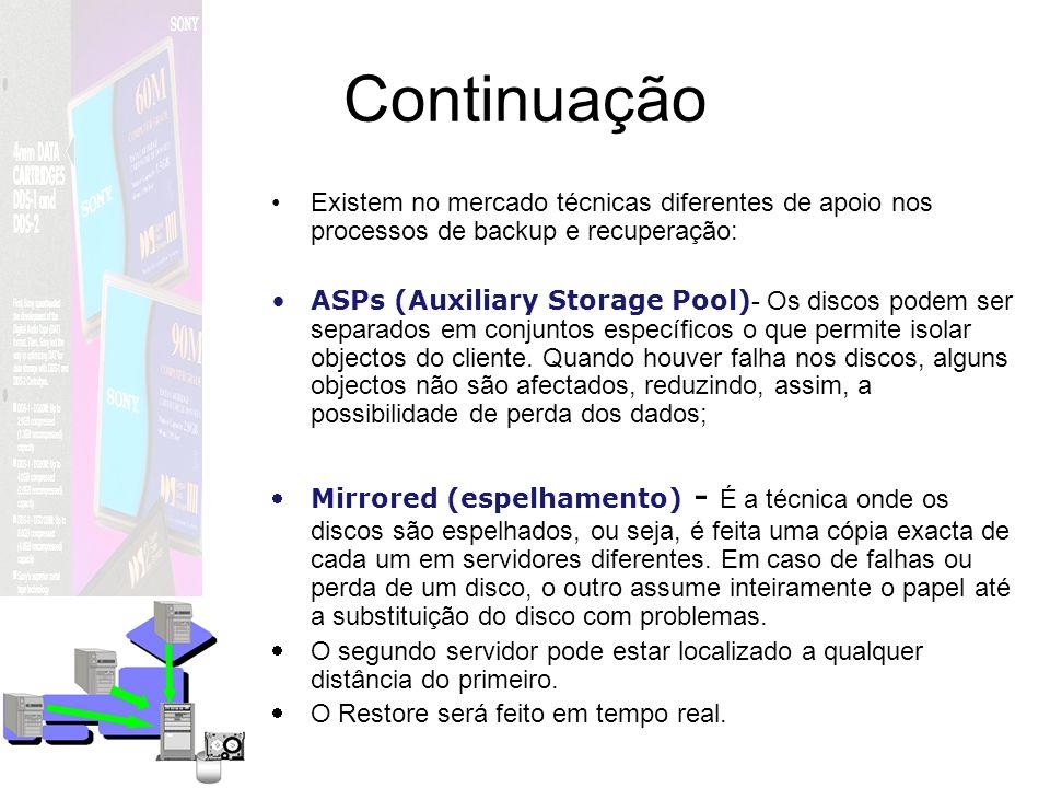 Continuação Existem no mercado técnicas diferentes de apoio nos processos de backup e recuperação: ASPs (Auxiliary Storage Pool) - Os discos podem ser