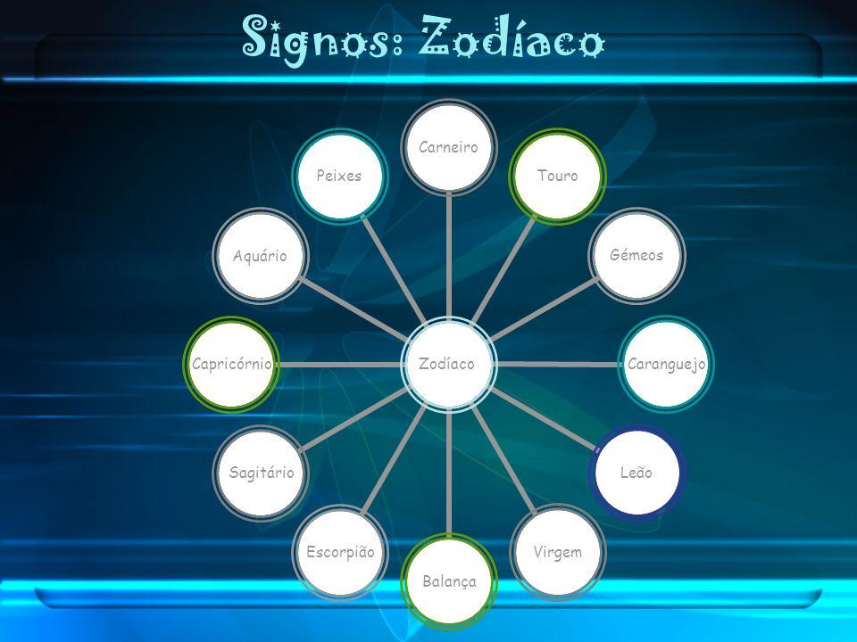 Signos: Zodíaco Zodíaco CarneiroTouroGémeosCaranguejoLeãoVirgemBalançaEscorpiãoSagitárioCapricórnioAquárioPeixes