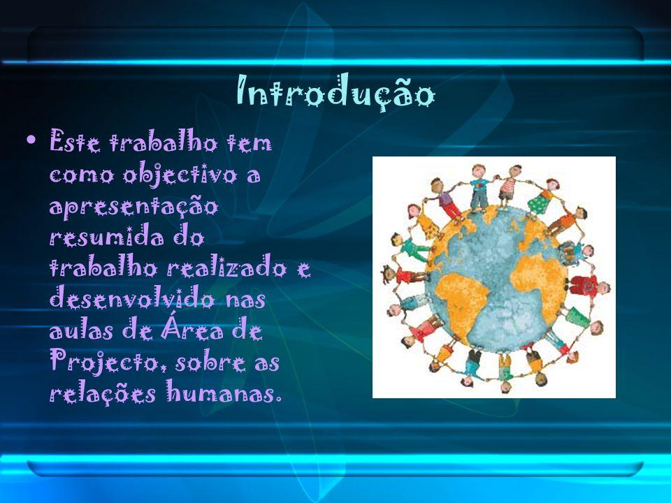 Introdução Este trabalho tem como objectivo a apresentação resumida do trabalho realizado e desenvolvido nas aulas de Área de Projecto, sobre as relaç