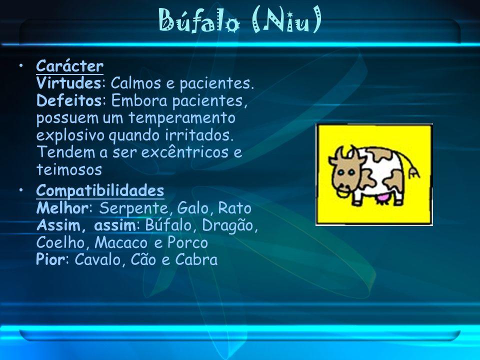 Búfalo (Niu) Carácter Virtudes: Calmos e pacientes. Defeitos: Embora pacientes, possuem um temperamento explosivo quando irritados. Tendem a ser excên