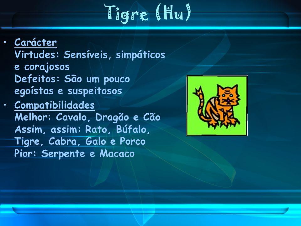 Tigre (Hu) Carácter Virtudes: Sensíveis, simpáticos e corajosos Defeitos: São um pouco egoístas e suspeitosos Compatibilidades Melhor: Cavalo, Dragão