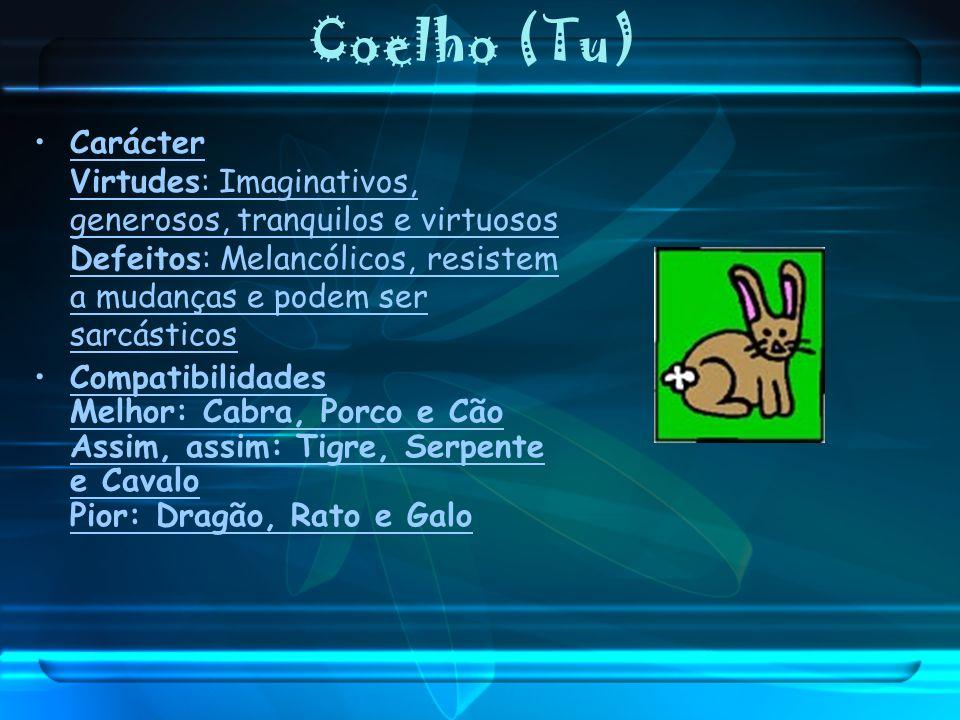 Coelho (Tu) Carácter Virtudes: Imaginativos, generosos, tranquilos e virtuosos Defeitos: Melancólicos, resistem a mudanças e podem ser sarcásticos Com