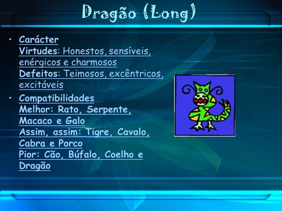 Dragão (Long) Carácter Virtudes: Honestos, sensíveis, enérgicos e charmosos Defeitos: Teimosos, excêntricos, excitáveis Compatibilidades Melhor: Rato,