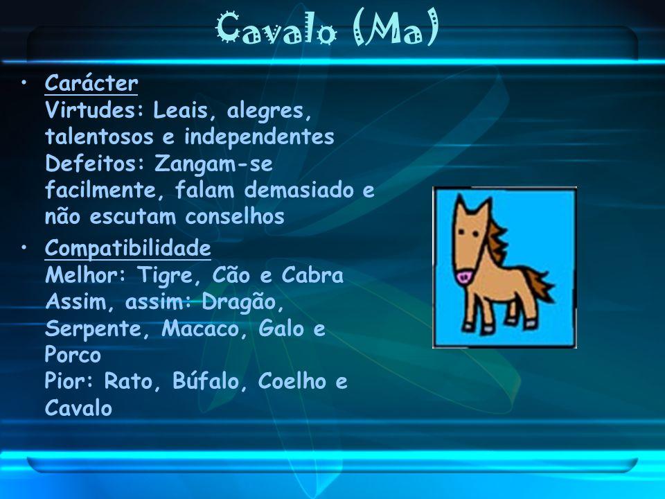Cavalo (Ma) Carácter Virtudes: Leais, alegres, talentosos e independentes Defeitos: Zangam-se facilmente, falam demasiado e não escutam conselhos Comp