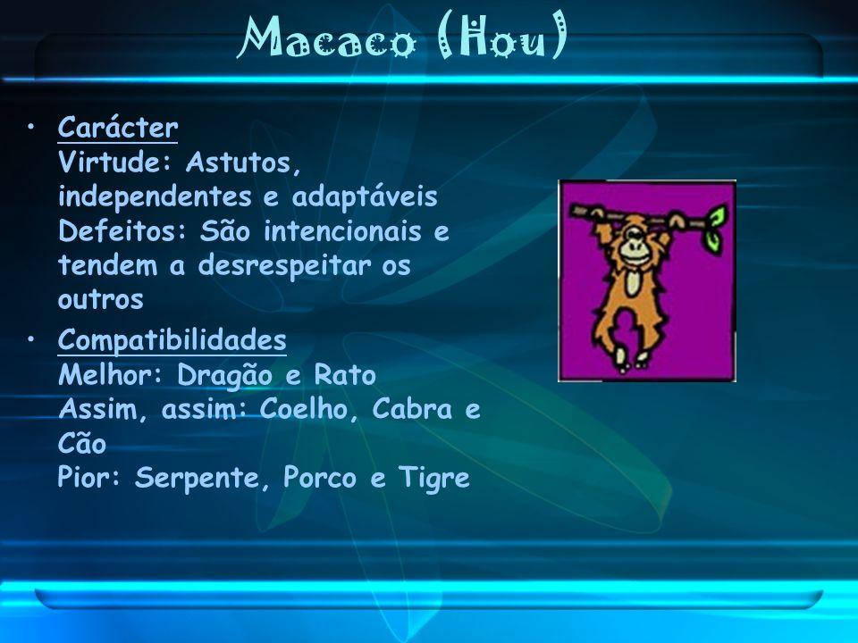 Macaco (Hou) Carácter Virtude: Astutos, independentes e adaptáveis Defeitos: São intencionais e tendem a desrespeitar os outros Compatibilidades Melho