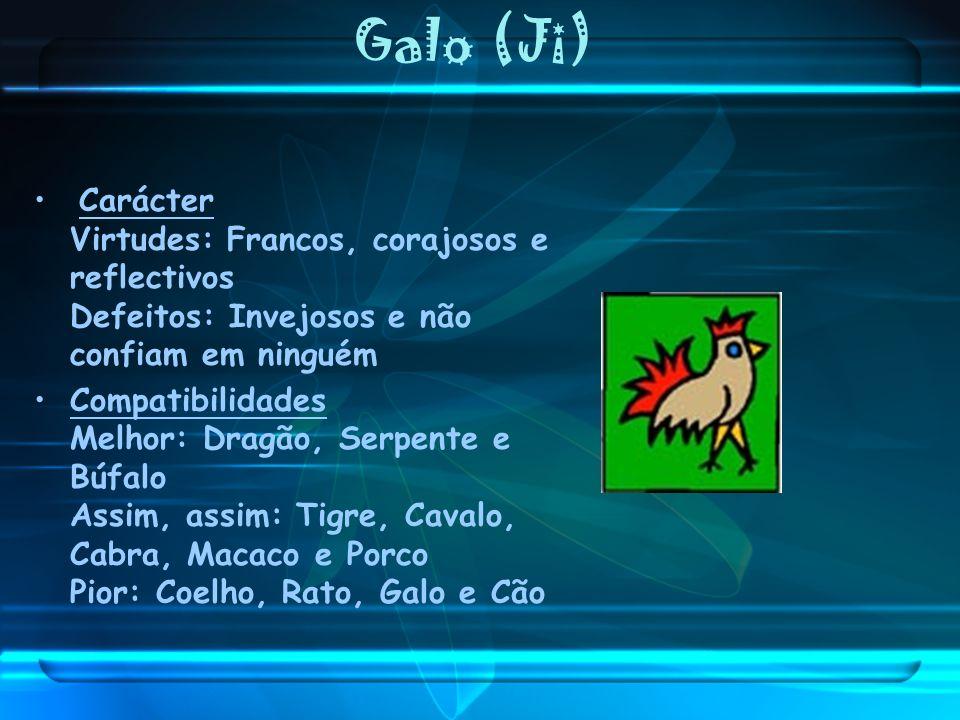 Galo (Ji) Carácter Virtudes: Francos, corajosos e reflectivos Defeitos: Invejosos e não confiam em ninguém Compatibilidades Melhor: Dragão, Serpente e