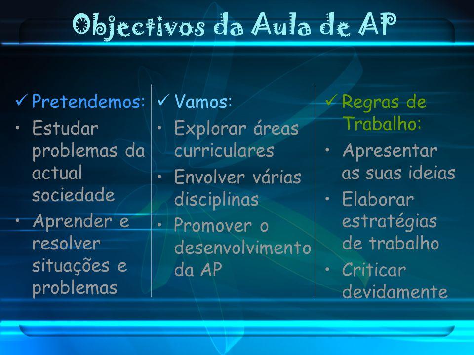 Objectivos da Aula de AP Pretendemos: Estudar problemas da actual sociedade Aprender e resolver situações e problemas Vamos: Explorar áreas curricular