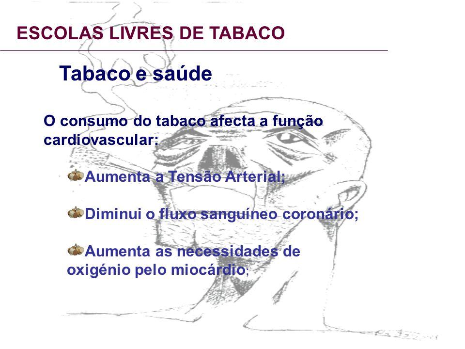 ESCOLAS LIVRES DE TABACO Tabaco e saúde O consumo do tabaco afecta a função cardiovascular: Aumenta a Tensão Arterial; Diminui o fluxo sanguíneo coron