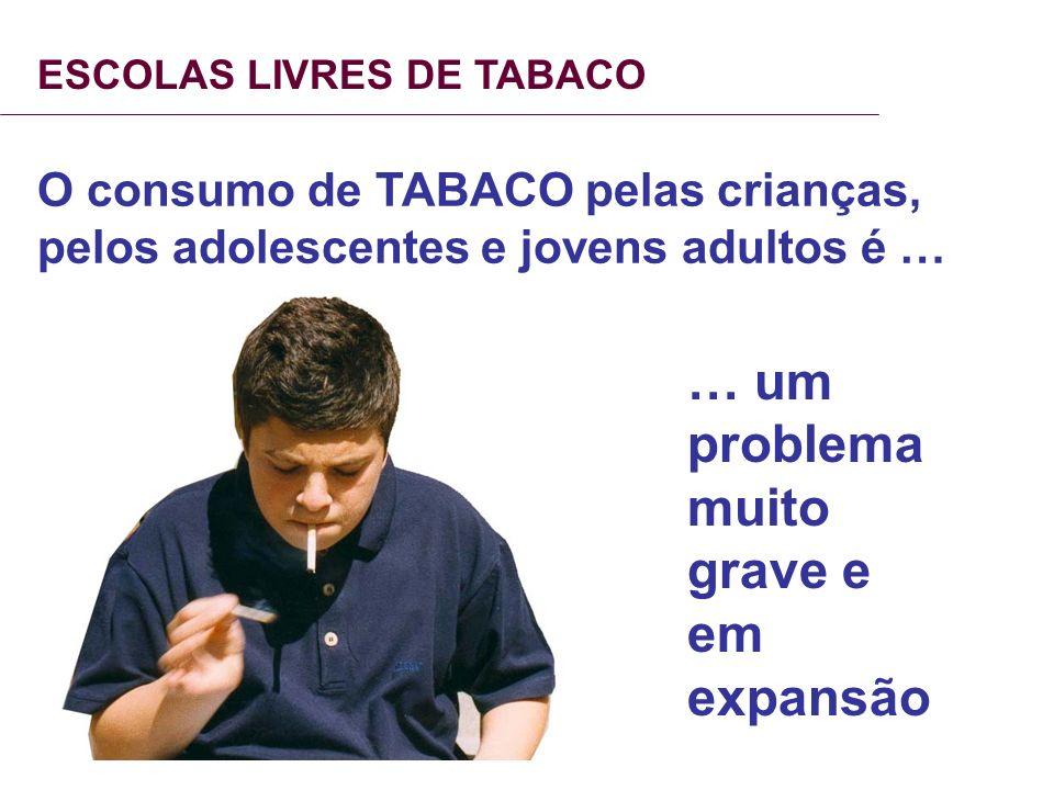 ESCOLAS LIVRES DE TABACO O consumo de TABACO pelas crianças, pelos adolescentes e jovens adultos é … … um problema muito grave e em expansão
