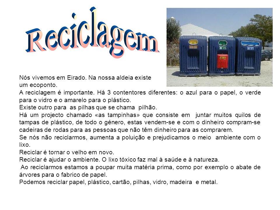 Nós vivemos em Eirado. Na nossa aldeia existe um ecoponto. A reciclagem é importante. Há 3 contentores diferentes: o azul para o papel, o verde para o