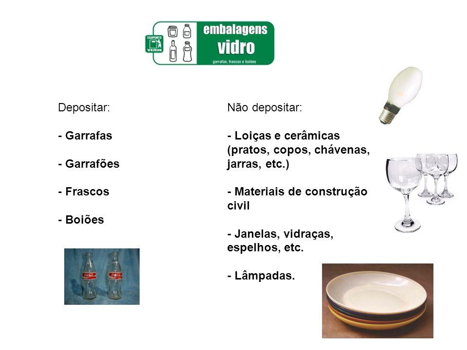 Depositar: - Garrafas - Garrafões - Frascos - Boiões Não depositar: - Loiças e cerâmicas (pratos, copos, chávenas, jarras, etc.) - Materiais de constr