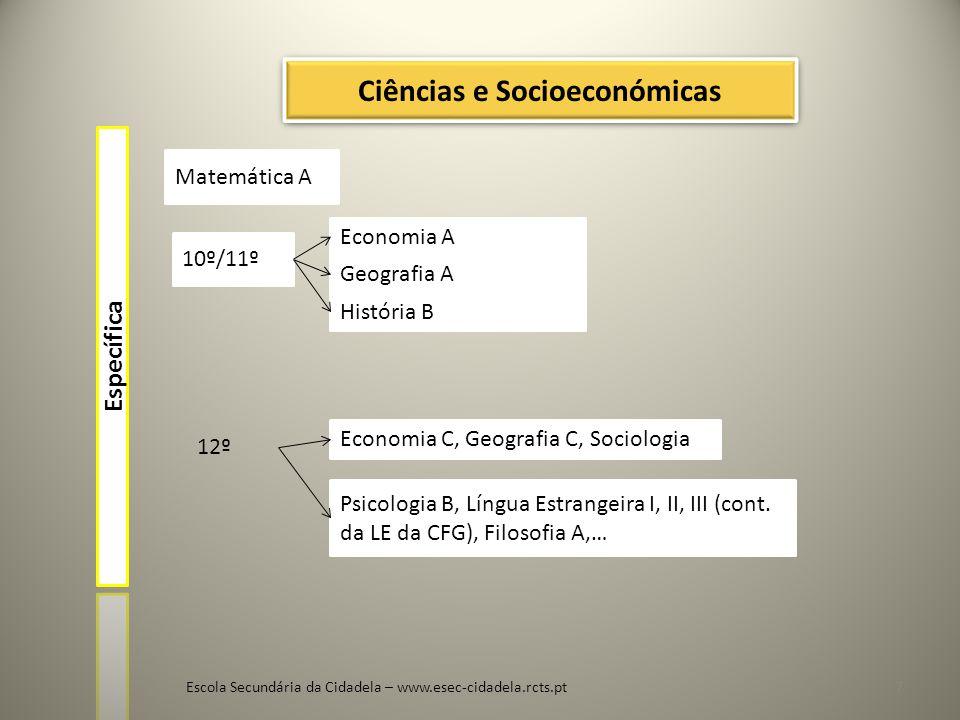 Escola Secundária da Cidadela – www.esec-cidadela.rcts.pt8 História A 10º/11º Geografia A Latim A Língua Estrangeira II ou III 12º L.E.