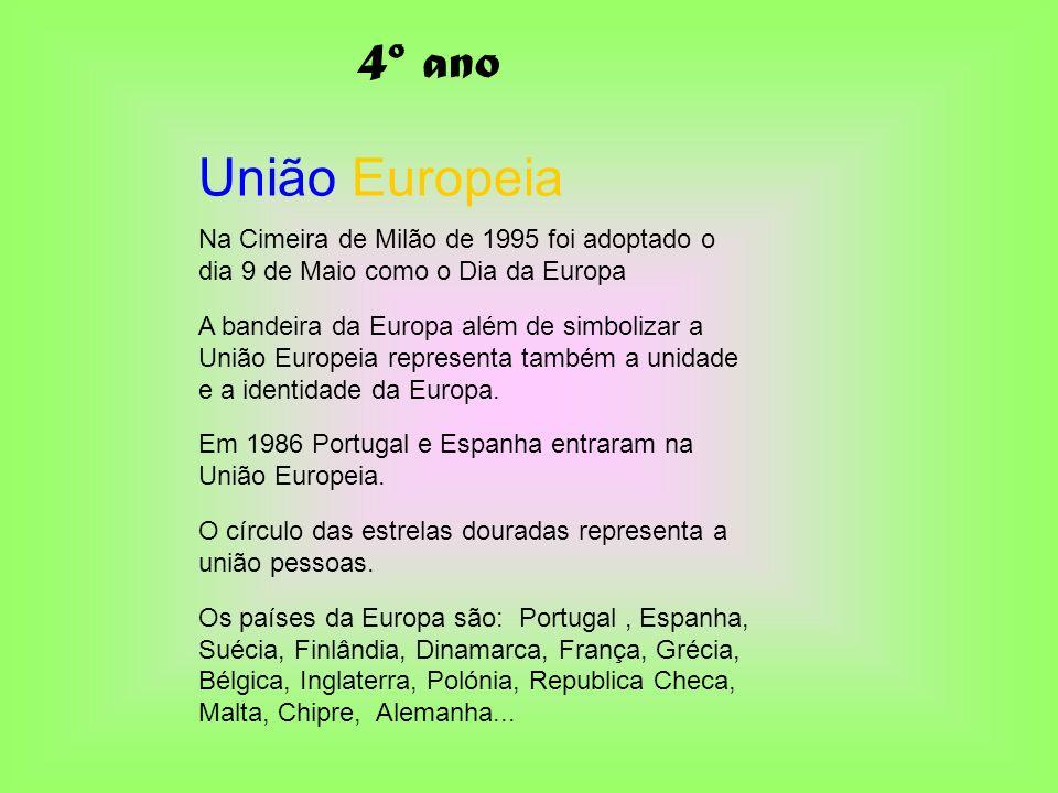 União Europeia Na Cimeira de Milão de 1995 foi adoptado o dia 9 de Maio como o Dia da Europa A bandeira da Europa além de simbolizar a União Europeia