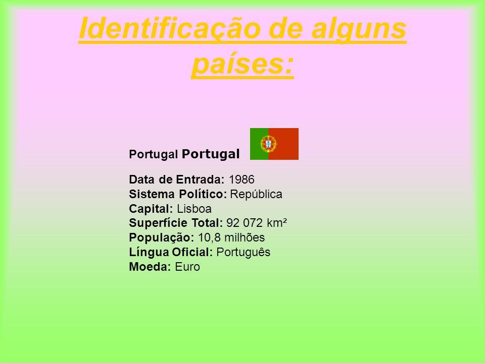 Identificação de alguns países: Portugal Data de Entrada: 1986 Sistema Político: República Capital: Lisboa Superfície Total: 92 072 km² População: 10,