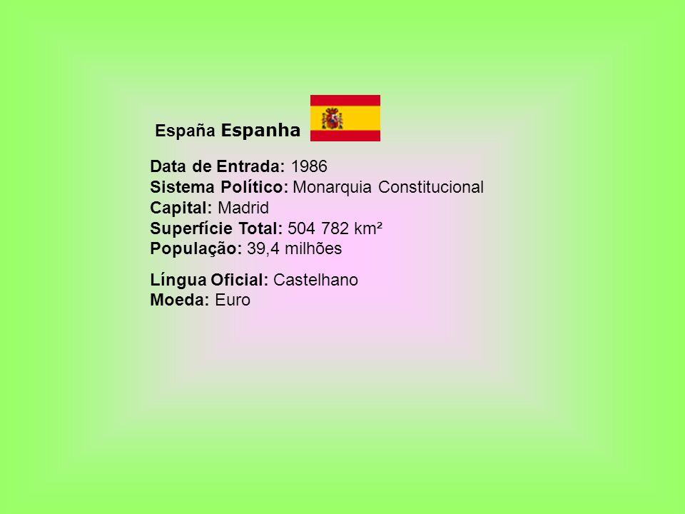 España Espanha Data de Entrada: 1986 Sistema Político: Monarquia Constitucional Capital: Madrid Superfície Total: 504 782 km² População: 39,4 milhões