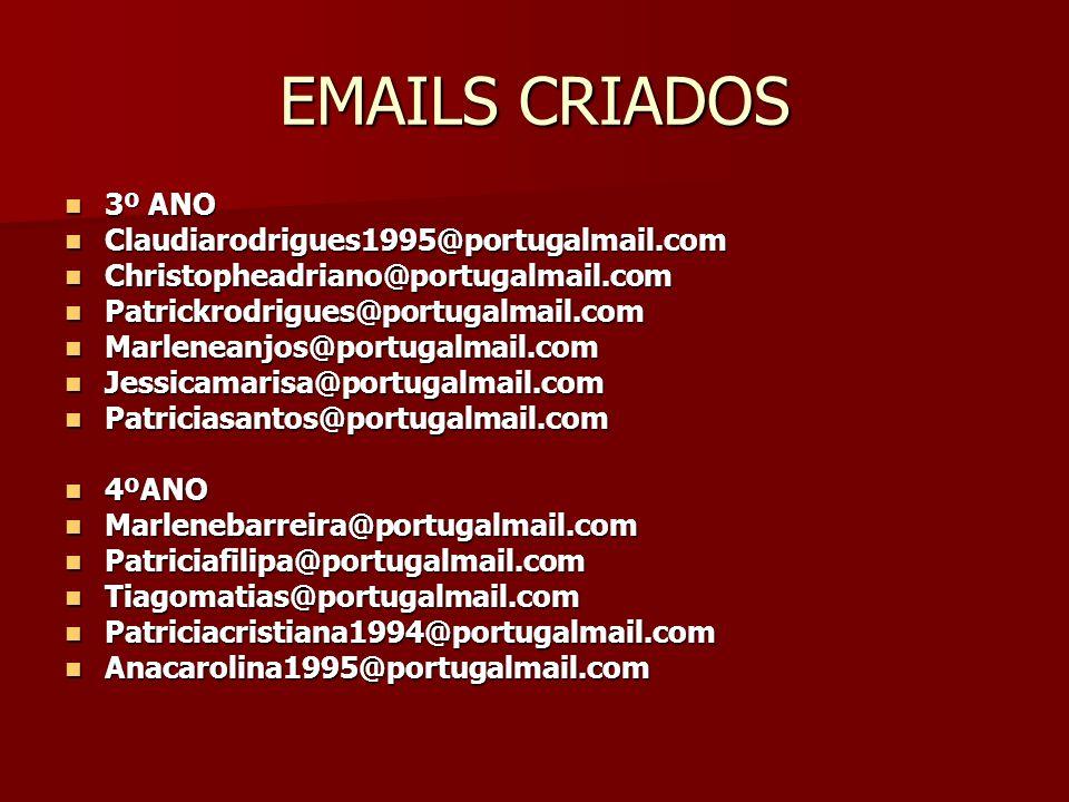 EMAILS CRIADOS 3º ANO 3º ANO Claudiarodrigues1995@portugalmail.com Claudiarodrigues1995@portugalmail.com Christopheadriano@portugalmail.com Christophe