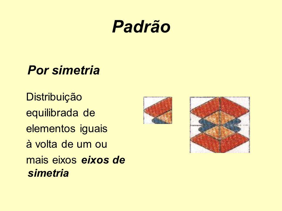 Por simetria Distribuição equilibrada de elementos iguais à volta de um ou mais eixos eixos de simetria