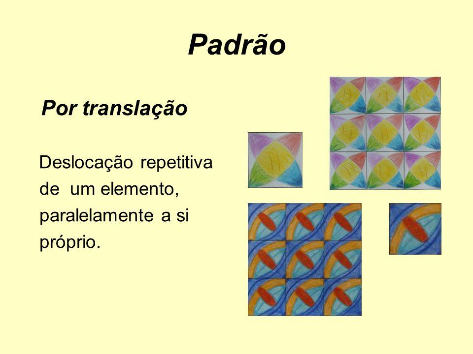 Padrão Por translação Deslocação repetitiva de um elemento, paralelamente a si próprio.