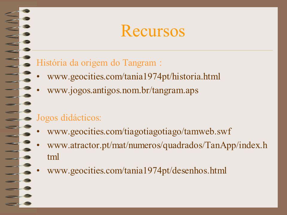 História da origem do Tangram : www.geocities.com/tania1974pt/historia.html www.jogos.antigos.nom.br/tangram.aps Jogos didácticos: www.geocities.com/tiagotiagotiago/tamweb.swf www.atractor.pt/mat/numeros/quadrados/TanApp/index.h tml www.geocities.com/tania1974pt/desenhos.html