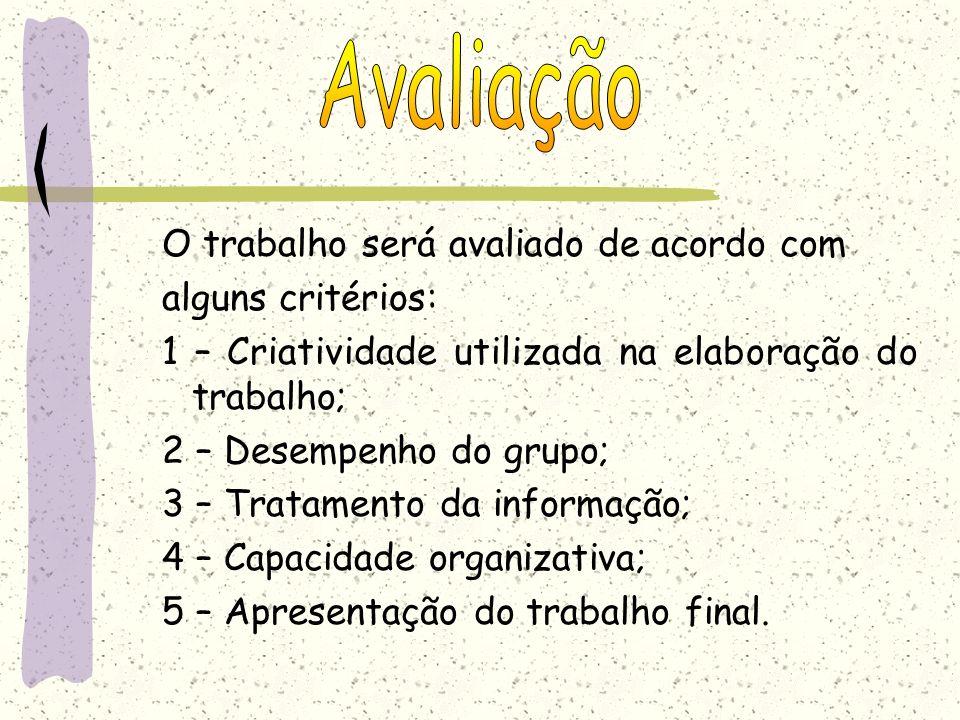 O trabalho será avaliado de acordo com alguns critérios: 1 – Criatividade utilizada na elaboração do trabalho; 2 – Desempenho do grupo; 3 – Tratamento