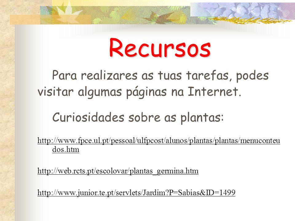 Recursos Para realizares as tuas tarefas, podes visitar algumas páginas na Internet. Curiosidades sobre as plantas: http://www.fpce.ul.pt/pessoal/ulfp