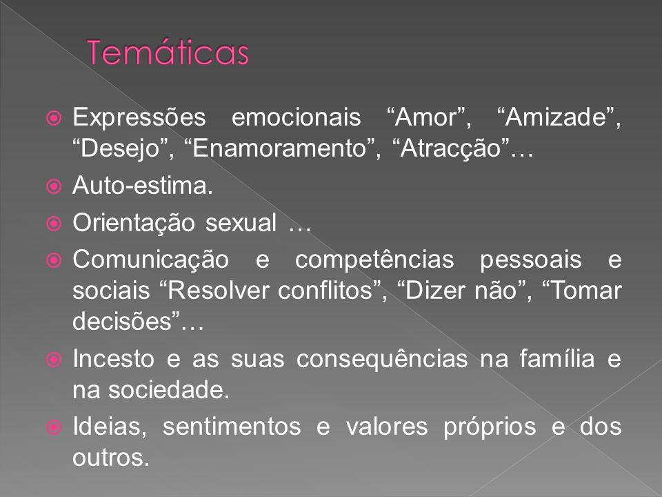 Expressões emocionais Amor, Amizade, Desejo, Enamoramento, Atracção… Auto-estima. Orientação sexual … Comunicação e competências pessoais e sociais Re
