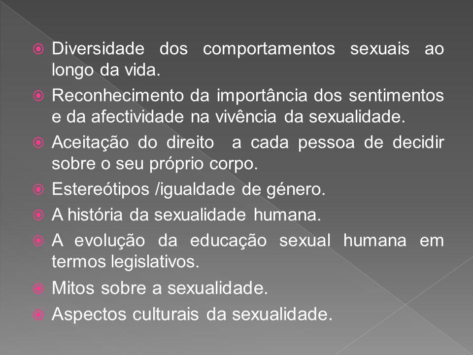 Diversidade dos comportamentos sexuais ao longo da vida. Reconhecimento da importância dos sentimentos e da afectividade na vivência da sexualidade. A