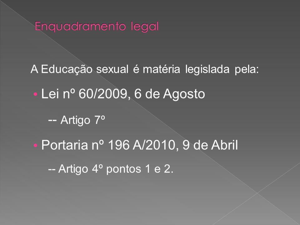 A Educação sexual é matéria legislada pela: Lei nº 60/2009, 6 de Agosto -- Artigo 7º Portaria nº 196 A/2010, 9 de Abril -- Artigo 4º pontos 1 e 2.