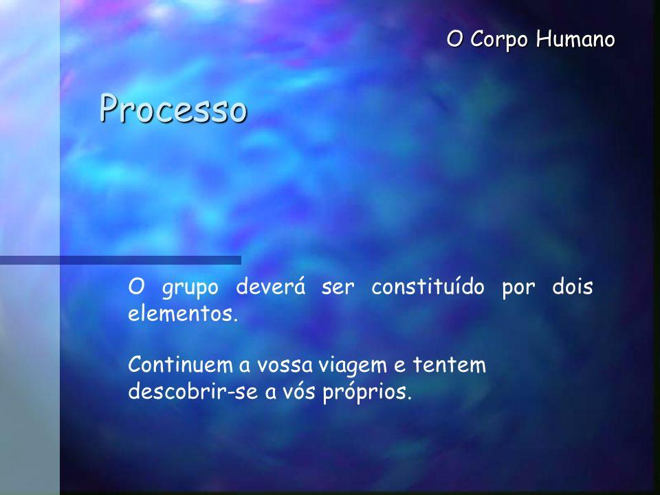 O Corpo Humano Processo O grupo deverá ser constituído por dois elementos. Continuem a vossa viagem e tentem descobrir-se a vós próprios.