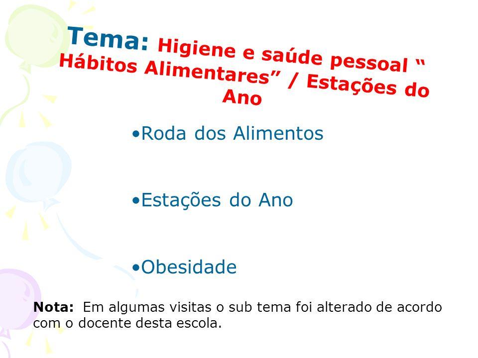 Tema: Higiene e saúde pessoal Hábitos Alimentares / Estações do Ano Roda dos Alimentos Estações do Ano Obesidade Nota: Em algumas visitas o sub tema f