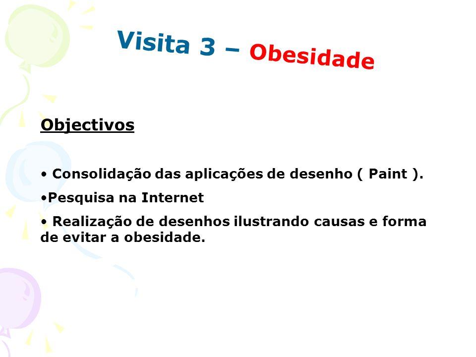 Visita 3 – Obesidade Objectivos Consolidação das aplicações de desenho ( Paint ). Pesquisa na Internet Realização de desenhos ilustrando causas e form