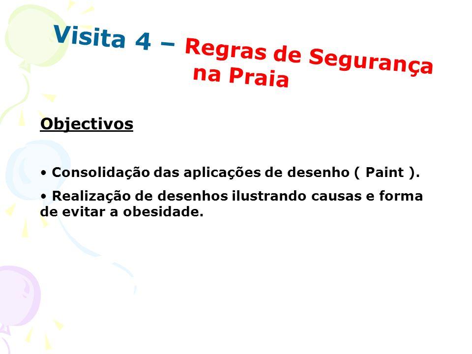 Visita 4 – Regras de Segurança na Praia Objectivos Consolidação das aplicações de desenho ( Paint ). Realização de desenhos ilustrando causas e forma