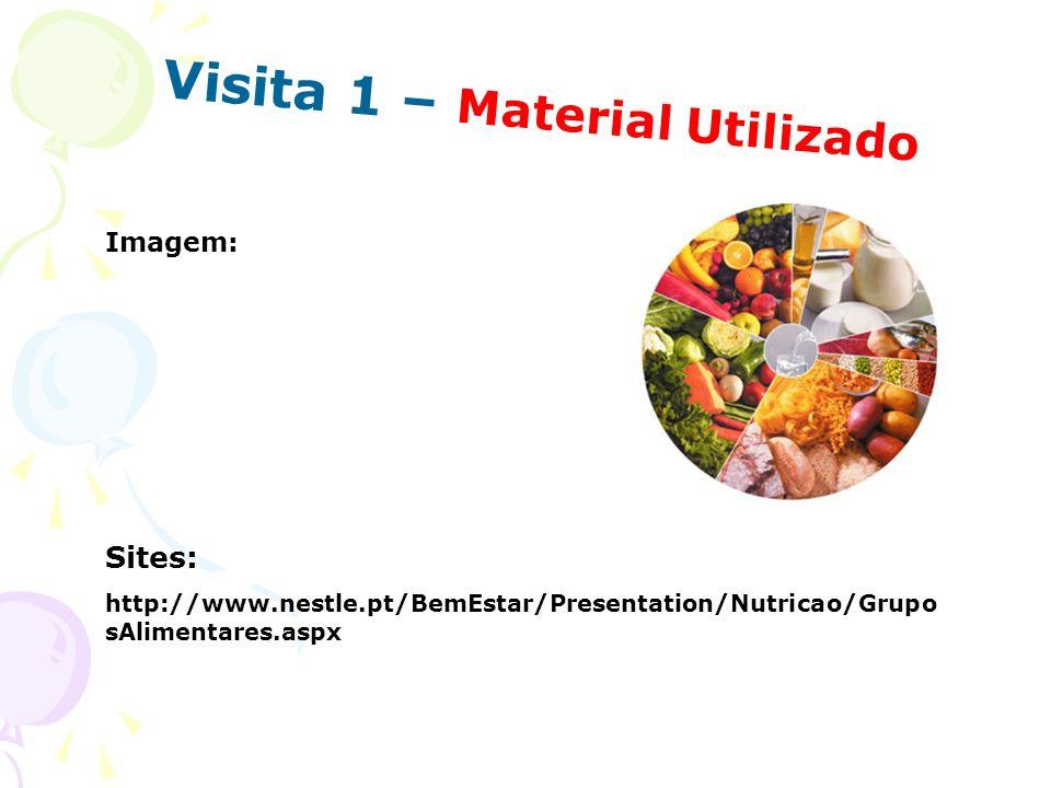 Visita 1 – Material Utilizado Sites: http://www.nestle.pt/BemEstar/Presentation/Nutricao/Grupo sAlimentares.aspx Imagem: