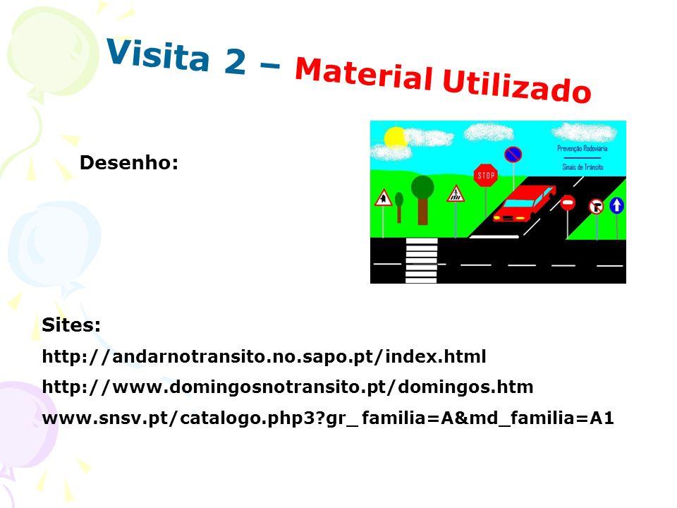 Visita 2 – Material Utilizado Desenho: Sites: http://andarnotransito.no.sapo.pt/index.html http://www.domingosnotransito.pt/domingos.htm www.snsv.pt/c